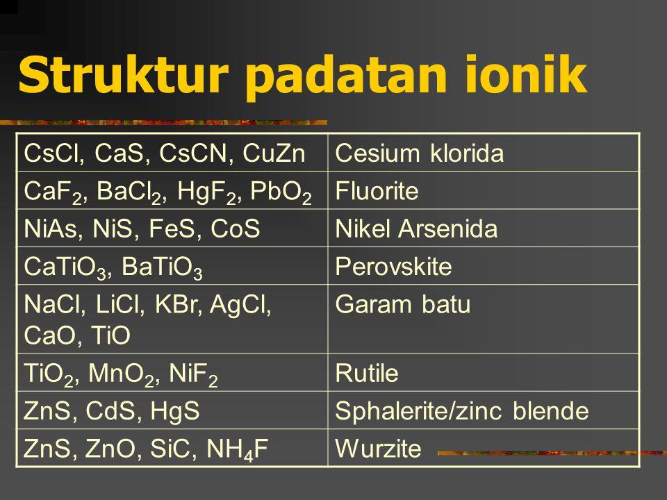 Struktur padatan ionik CsCl, CaS, CsCN, CuZnCesium klorida CaF 2, BaCl 2, HgF 2, PbO 2 Fluorite NiAs, NiS, FeS, CoSNikel Arsenida CaTiO 3, BaTiO 3 Perovskite NaCl, LiCl, KBr, AgCl, CaO, TiO Garam batu TiO 2, MnO 2, NiF 2 Rutile ZnS, CdS, HgSSphalerite/zinc blende ZnS, ZnO, SiC, NH 4 FWurzite