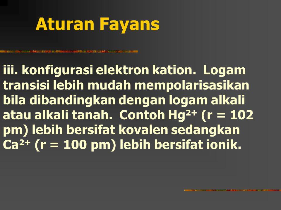 Aturan Fayans iii.konfigurasi elektron kation.