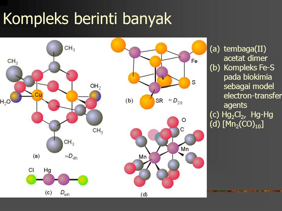 Kompleks berinti banyak (a)tembaga(II) acetat dimer (b)Kompleks Fe-S pada biokimia sebagai model electron-transfer agents (c) Hg 2 Cl 2, Hg-Hg (d) [Mn 2 (CO) 10 ]