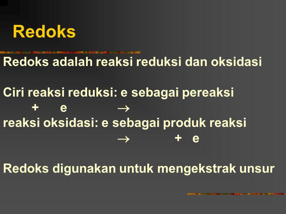 Redoks Redoks adalah reaksi reduksi dan oksidasi Ciri reaksi reduksi: e sebagai pereaksi +e  reaksi oksidasi: e sebagai produk reaksi  + e Redoks di