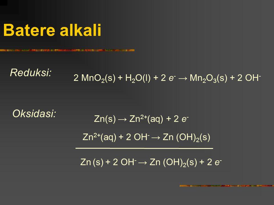 Batere alkali Zn 2+ (aq) + 2 OH - → Zn (OH) 2 (s) Zn(s) → Zn 2+ (aq) + 2 e - Oksidasi: 2 MnO 2 (s) + H 2 O(l) + 2 e - → Mn 2 O 3 (s) + 2 OH - Reduksi: