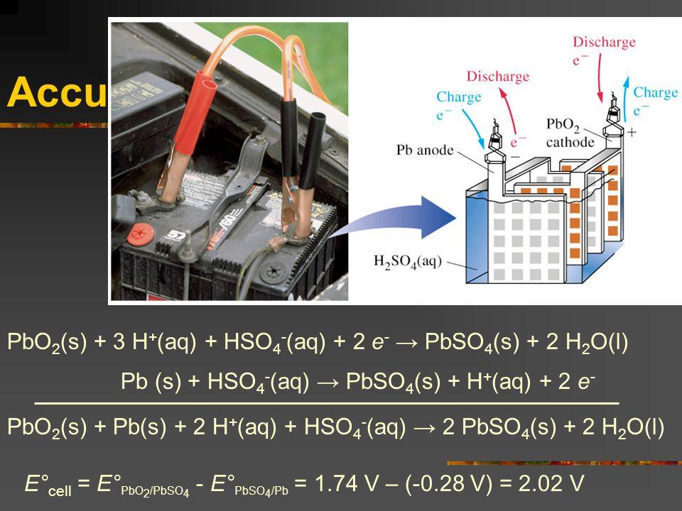 Accu PbO 2 (s) + 3 H + (aq) + HSO 4 - (aq) + 2 e - → PbSO 4 (s) + 2 H 2 O(l) Pb (s) + HSO 4 - (aq) → PbSO 4 (s) + H + (aq) + 2 e - PbO 2 (s) + Pb(s) +