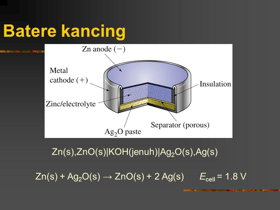 Batere kancing Zn(s),ZnO(s)|KOH(jenuh)|Ag 2 O(s),Ag(s) Zn(s) + Ag 2 O(s) → ZnO(s) + 2 Ag(s) E cell = 1.8 V