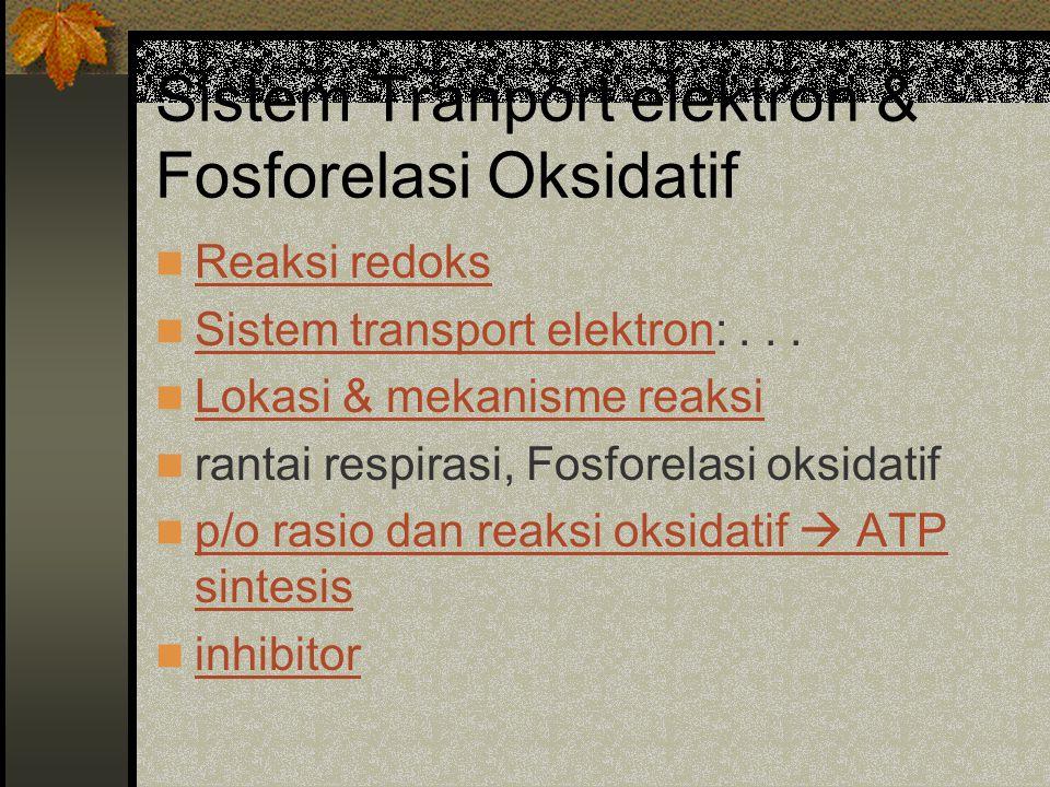 Sistem Tranport elektron & Fosforelasi Oksidatif Reaksi redoks Sistem transport elektron:... Sistem transport elektron Lokasi & mekanisme reaksi ranta