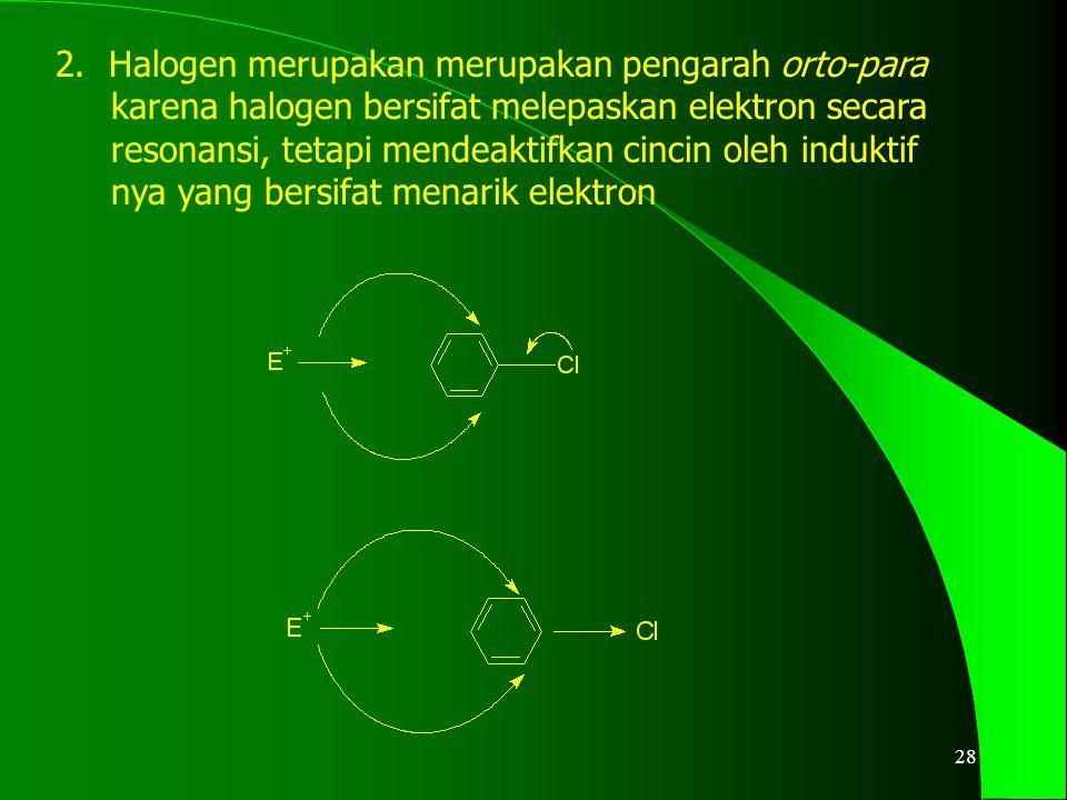 29 3.Pengarah meta mendeaktifkan semua posisi pada cincin dengan cara menarik elektron serta terutama mendeaktifkan posisi orto-para