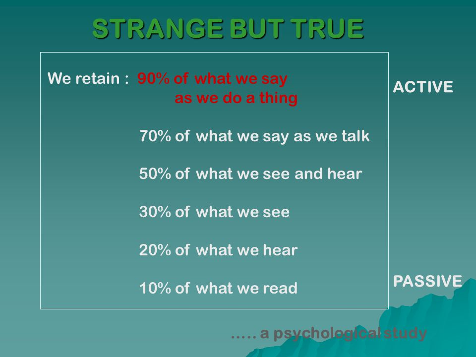 We retain : 90% of what we say as we do a thing 70% of what we say as we talk 50% of what we see and hear 30% of what we see 20% of what we hear 10% o