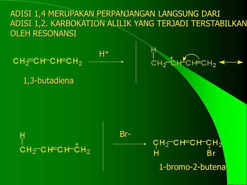ADISI 1,4 MERUPAKAN PERPANJANGAN LANGSUNG DARI ADISI 1,2. KARBOKATION ALILIK YANG TERJADI TERSTABILKAN OLEH RESONANSI H+H+H+H+ Br- 1,3-butadiena 1-bro