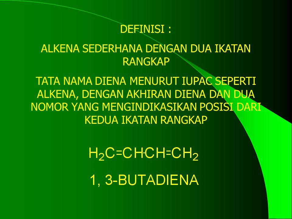 DEFINISI : ALKENA SEDERHANA DENGAN DUA IKATAN RANGKAP TATA NAMA DIENA MENURUT IUPAC SEPERTI ALKENA, DENGAN AKHIRAN DIENA DAN DUA NOMOR YANG MENGINDIKA