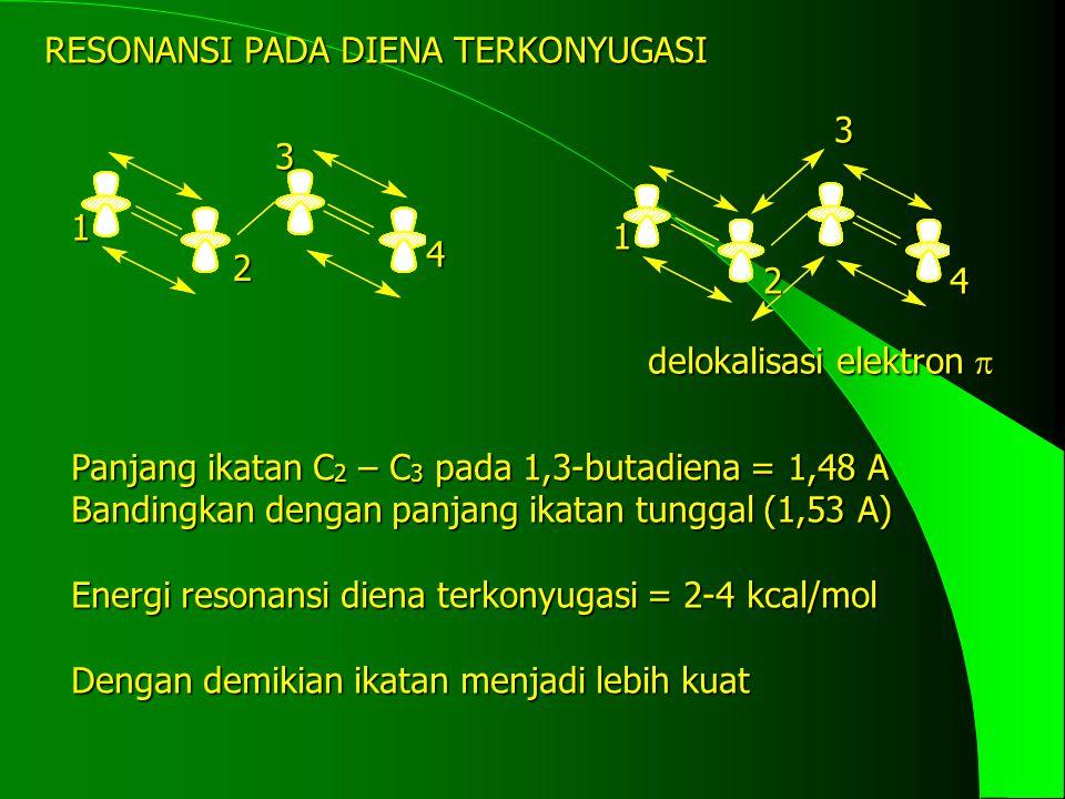 RESONANSI PADA DIENA TERKONYUGASI delokalisasi elektron  1 2 3 4 1 2 3 4 Panjang ikatan C 2 – C 3 pada 1,3-butadiena = 1,48 A Bandingkan dengan panja