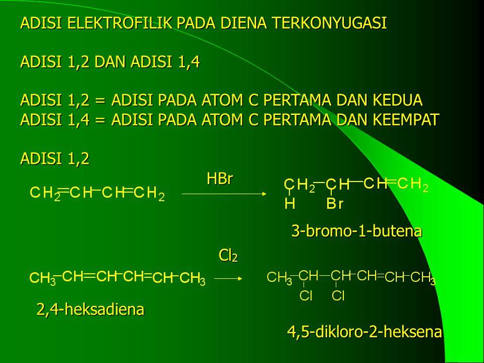 ADISI 1,4 HBr 1,3-butadiena 1-bromo-2-butena Cl 2 2,4-heksadiena 2,5-dikloro-3-heksena