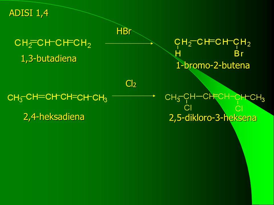 kalor produk cis cis-dienofil + endo(disukai) + titian trans terhadap titian