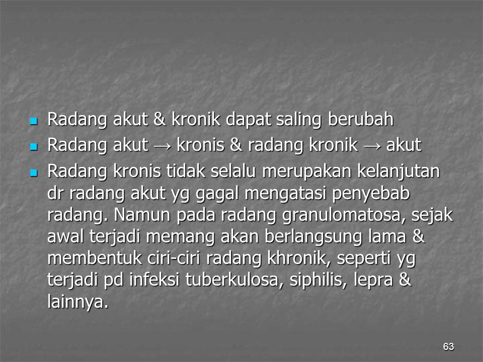 63 Radang akut & kronik dapat saling berubah Radang akut & kronik dapat saling berubah Radang akut → kronis & radang kronik → akut Radang akut → kroni