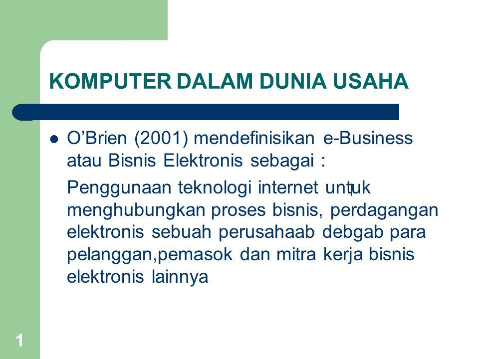 1 KOMPUTER DALAM DUNIA USAHA O'Brien (2001) mendefinisikan e-Business atau Bisnis Elektronis sebagai : Penggunaan teknologi internet untuk menghubungkan proses bisnis, perdagangan elektronis sebuah perusahaab debgab para pelanggan,pemasok dan mitra kerja bisnis elektronis lainnya