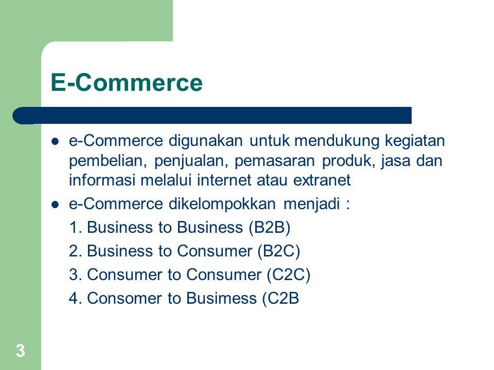 3 E-Commerce e-Commerce digunakan untuk mendukung kegiatan pembelian, penjualan, pemasaran produk, jasa dan informasi melalui internet atau extranet e-Commerce dikelompokkan menjadi : 1.