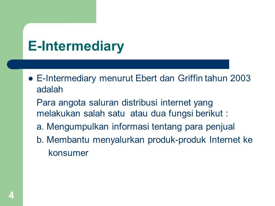4 E-Intermediary E-Intermediary menurut Ebert dan Griffin tahun 2003 adalah Para angota saluran distribusi internet yang melakukan salah satu atau dua fungsi berikut : a.