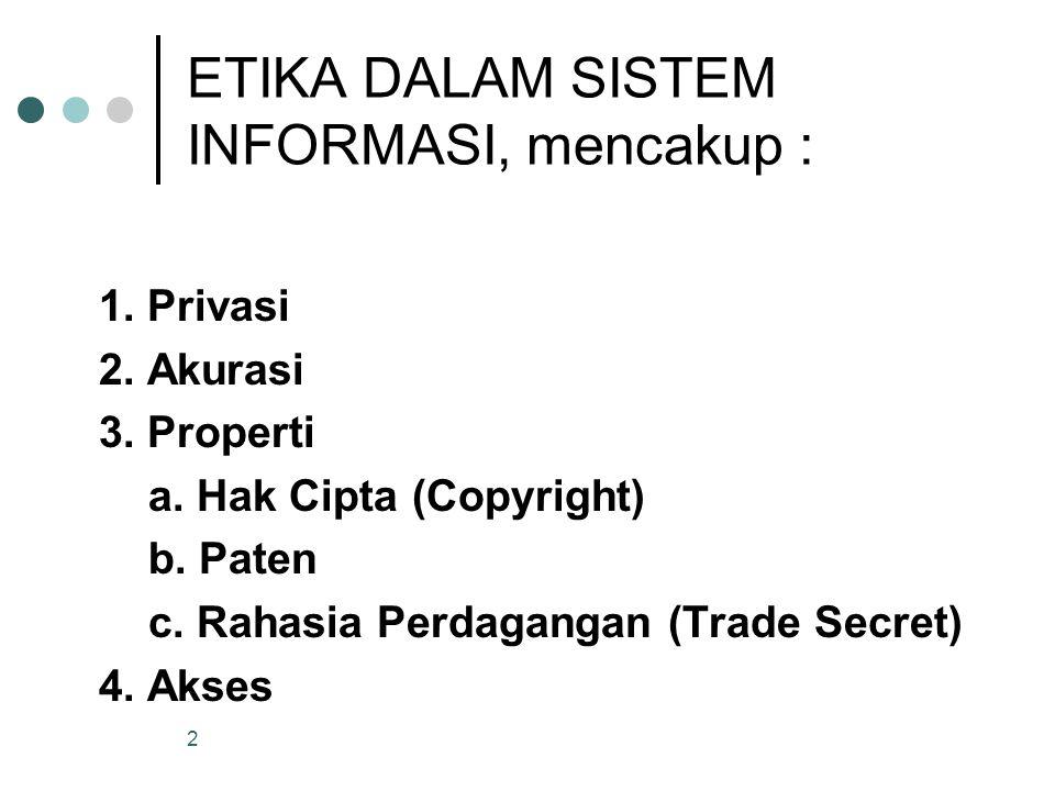2 ETIKA DALAM SISTEM INFORMASI, mencakup : 1. Privasi 2. Akurasi 3. Properti a. Hak Cipta (Copyright) b. Paten c. Rahasia Perdagangan (Trade Secret) 4