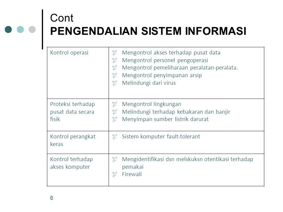 6 Cont PENGENDALIAN SISTEM INFORMASI Kontrol operasi  Mengontrol akses terhadap pusat data  Mengontrol personel pengoperasi  Mengontrol pemeliharaa