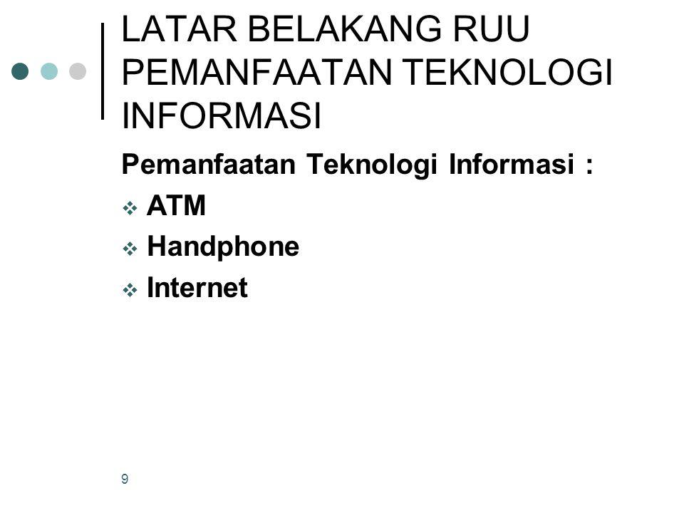 9 LATAR BELAKANG RUU PEMANFAATAN TEKNOLOGI INFORMASI Pemanfaatan Teknologi Informasi :  ATM  Handphone  Internet