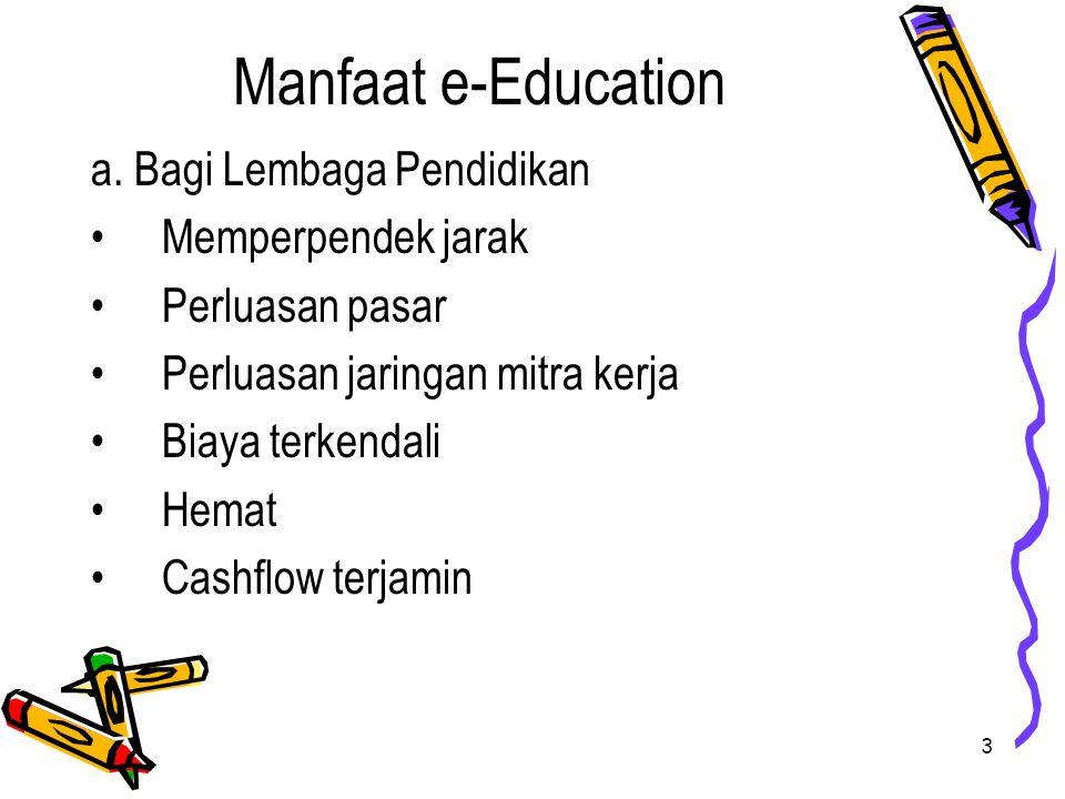 4 cont.Manfaat e-Education b. Bagi Siswa 1.Hemat 2.Biaya Terkendali 3.Fleksibel c.
