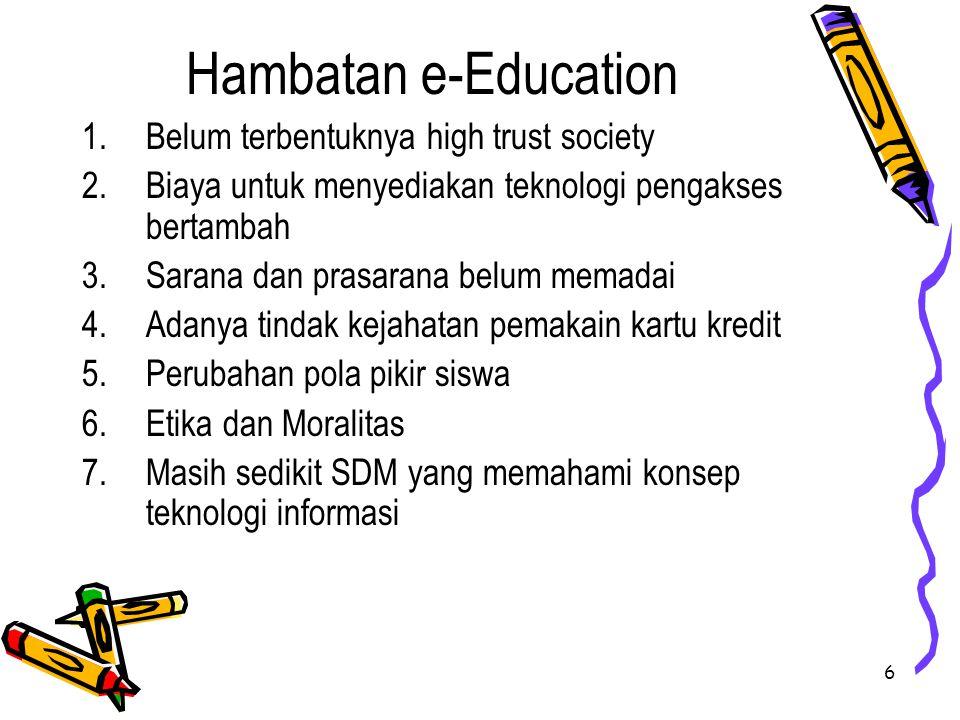 7 APLIKASI e-EDUCATION 1.Silabus berbasis web 2.Bahan kuliah online 3.Forum diskusi elektronik 4.e-Mail 5.Ujian berbasis computer 6.Buku nilai online