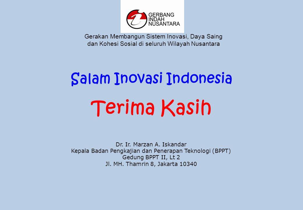 Salam Inovasi Indonesia Terima Kasih Dr. Ir. Marzan A.