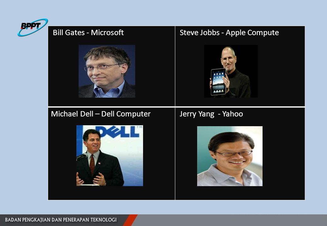 Bill Gates - Microsoft Steve Jobbs - Apple Compute Michael Dell – Dell Computer Jerry Yang - Yahoo