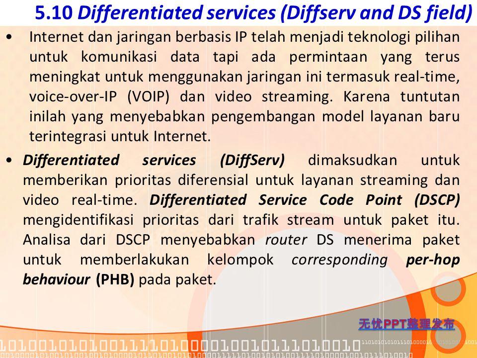5.10 Differentiated services (Diffserv and DS field) Internet dan jaringan berbasis IP telah menjadi teknologi pilihan untuk komunikasi data tapi ada
