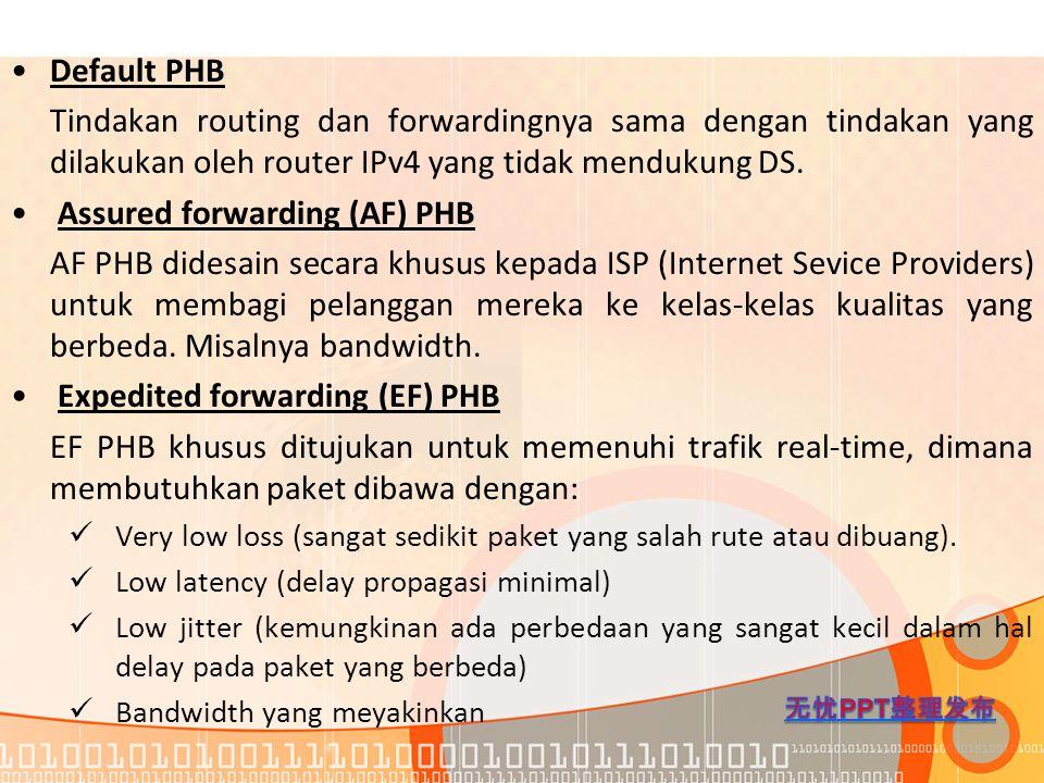 Default PHB Tindakan routing dan forwardingnya sama dengan tindakan yang dilakukan oleh router IPv4 yang tidak mendukung DS. Assured forwarding (AF) P