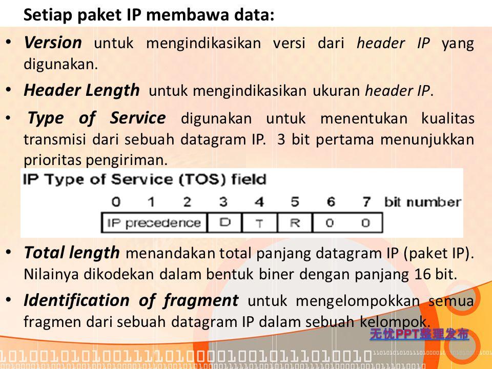 Setiap paket IP membawa data: Version untuk mengindikasikan versi dari header IP yang digunakan. Header Length untuk mengindikasikan ukuran header IP.