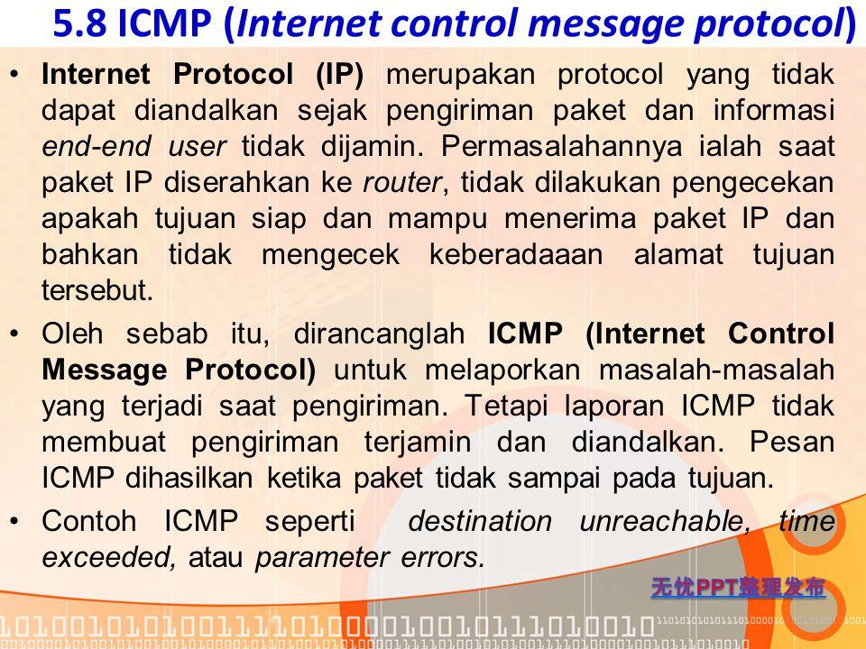 5.8 ICMP (Internet control message protocol) Internet Protocol (IP) merupakan protocol yang tidak dapat diandalkan sejak pengiriman paket dan informas