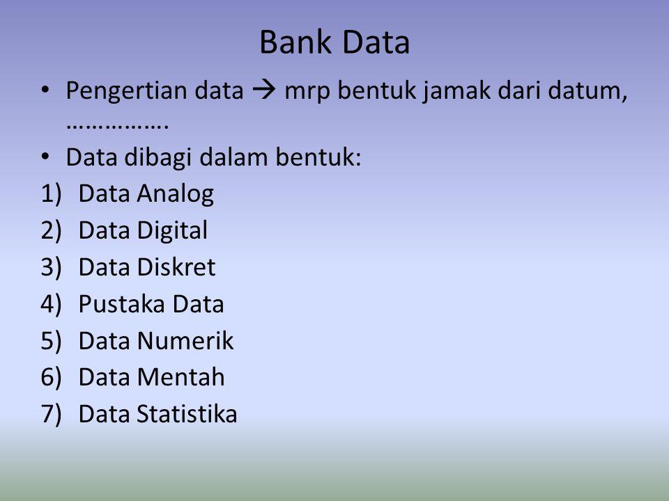 Proceedings of the International Meeting on Data Banks for Development, diuraikan Data faktual  Data Internasional  Data Ilmu pengetahuan dan teknologi Data digolongkan : 1)Statistika dan sosial ekonomi 2)Peta dan data teritorial 3)Laporan (data ilmu pengetahuan dan teknologi)
