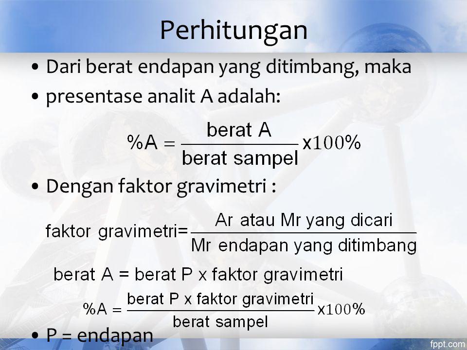 Hal-hal yang harus diperhatikan Unsur atau senyawa yang ditentukan harus terendapkan secara sempurna.
