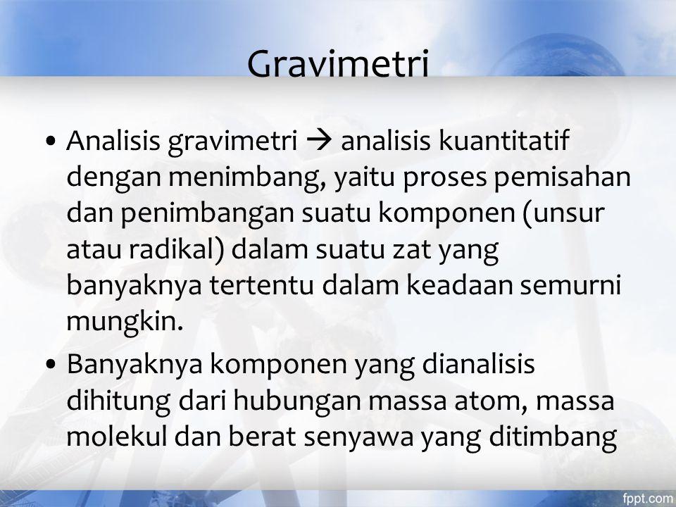 Langkah-langkah metode gravimetri Pengeringan dan penimbangan sampel Pelarutan sampel Pengendapan dg cara penambahan pereaksi (berlebih) yang sesuai Pemisahan/penyaringan endapan Pencucian endapan Pengeringan atau pemijaran endapan -----> stabil dan diketahui komposisinya Penimbangan bobot konstan endapan