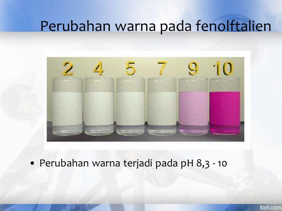 Indikator Nama Indikator Warna asam Warna basa Trayek pH Alizarin kuning - kuning ungu 10,1 - 12,0 Fenolftalein tak berwarna merah 8,0 - 9,6 Timolftalein tak berwarna biru 9,3 - 10,6 Fenol merah kuning merah 6,8 - 8,4 Bromtimol blue kuning biru 6,0- 7,6 Metil merah merah kuning 4,2 - 6,2 Metil jingga merah kuning 3,1 - 4,4 Para nitrofenol tak berwarna kuning 5,0 - 7,0 Timol blue kuning biru 8,0 - 9,6 Tropeolin OO merah kuning 1,3 - 3,0