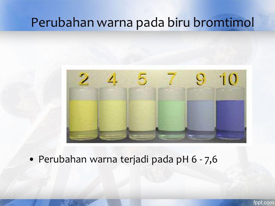 Perubahan warna pada fenolftalien Perubahan warna terjadi pada pH 8,3 - 10