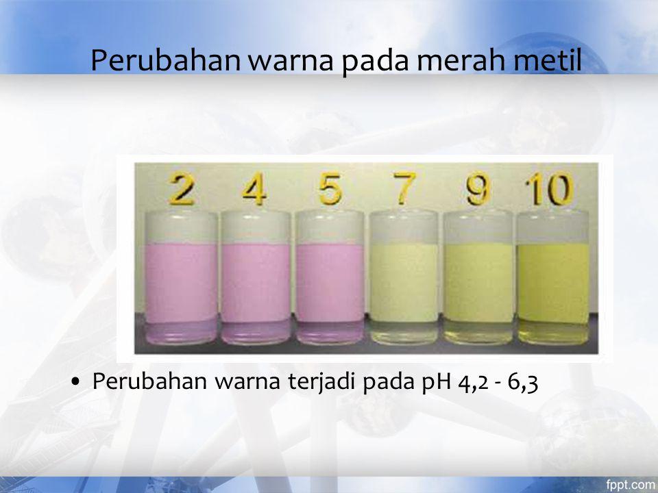 Perubahan warna pada biru bromtimol Perubahan warna terjadi pada pH 6 - 7,6