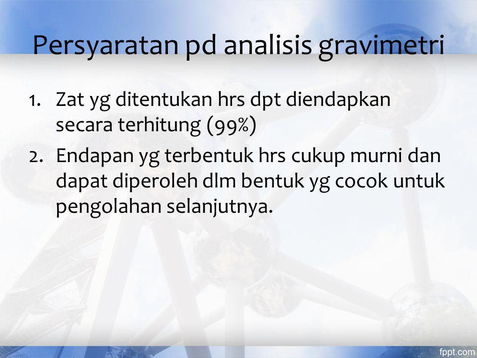 Persyaratan pd analisis gravimetri 1.Zat yg ditentukan hrs dpt diendapkan secara terhitung (99%) 2.Endapan yg terbentuk hrs cukup murni dan dapat diperoleh dlm bentuk yg cocok untuk pengolahan selanjutnya.