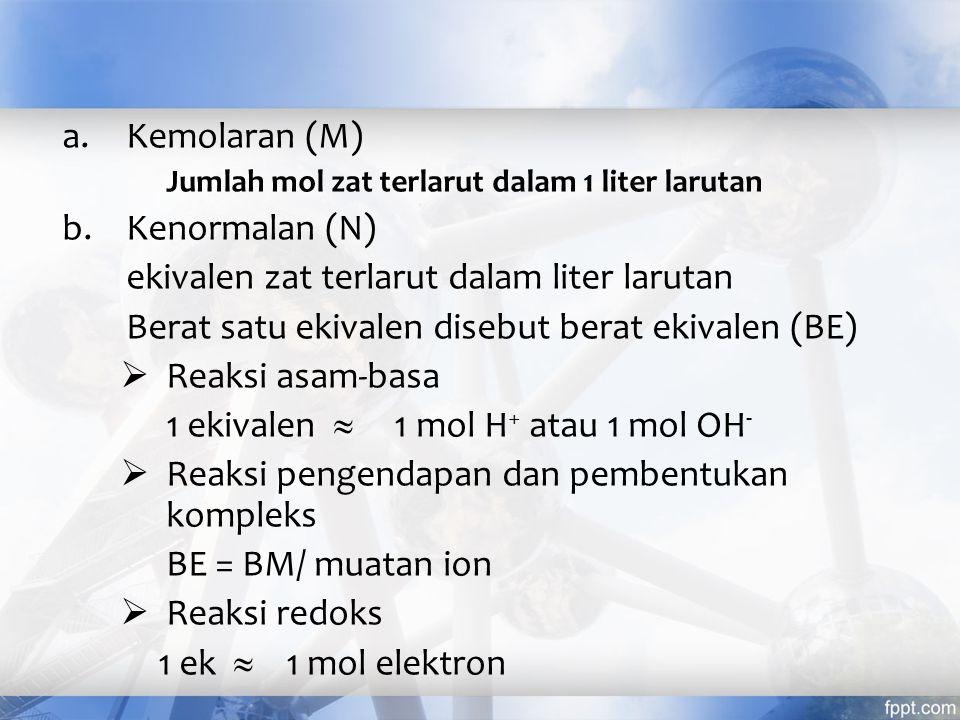 Satuan Konsentrasi a.Persen berat (% w/w) b.Persen volume (%v/v) c.Persen berat/volume (%w/v) d.Parts Per Million dan Parts Per Billion 1 ppm (bag.