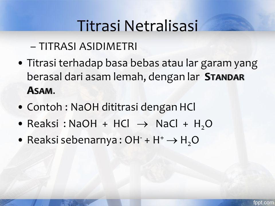 Jenis - jenis titrasi Titrasi netralisasi /asam-basa titrasi redoks titrasi pengendapan titrasi pembentukkan kompleks