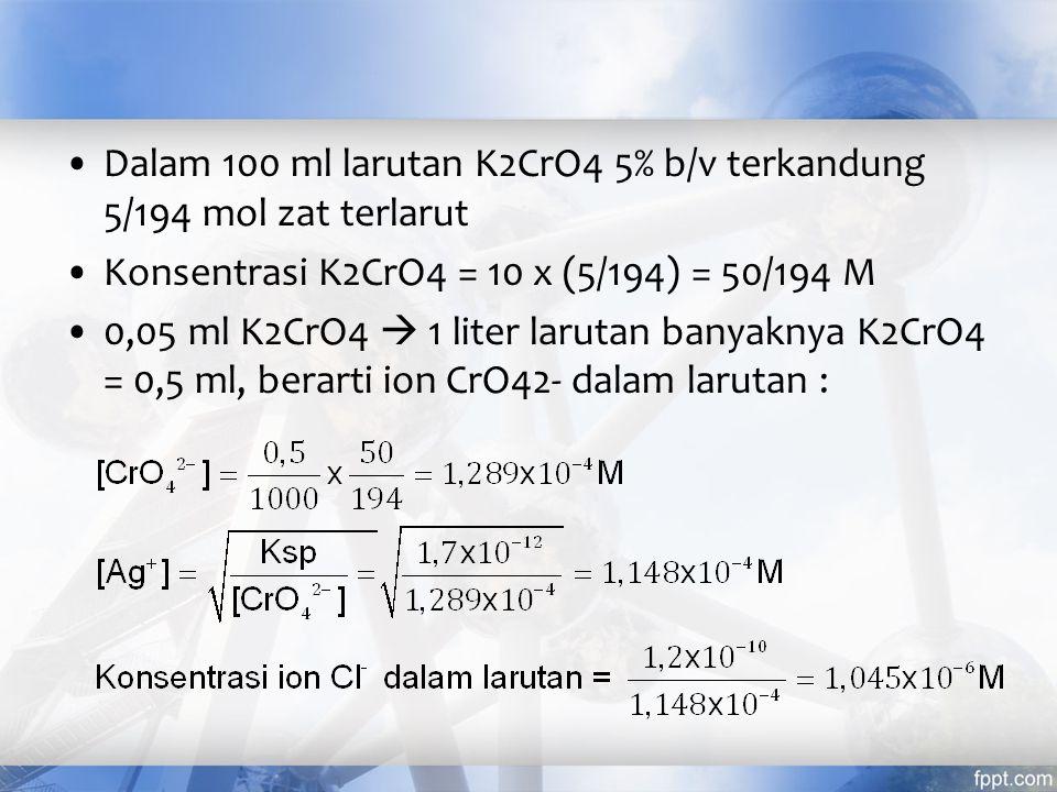 Argentometri dengan indikator K2CrO4 Larutan garam LiCl 0,1 M dititrasi dengan larutan standar 0,1 N AgNO3 dengan indikator K 2 CrO 4.