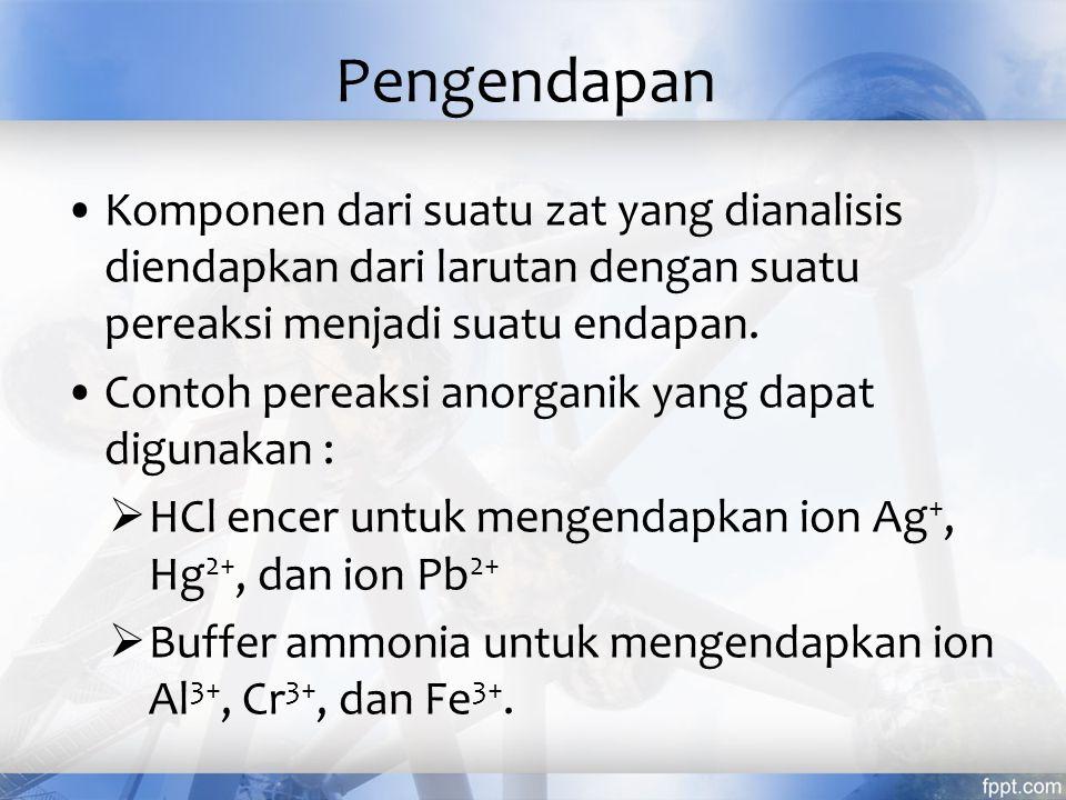 Pengendapan Komponen dari suatu zat yang dianalisis diendapkan dari larutan dengan suatu pereaksi menjadi suatu endapan.