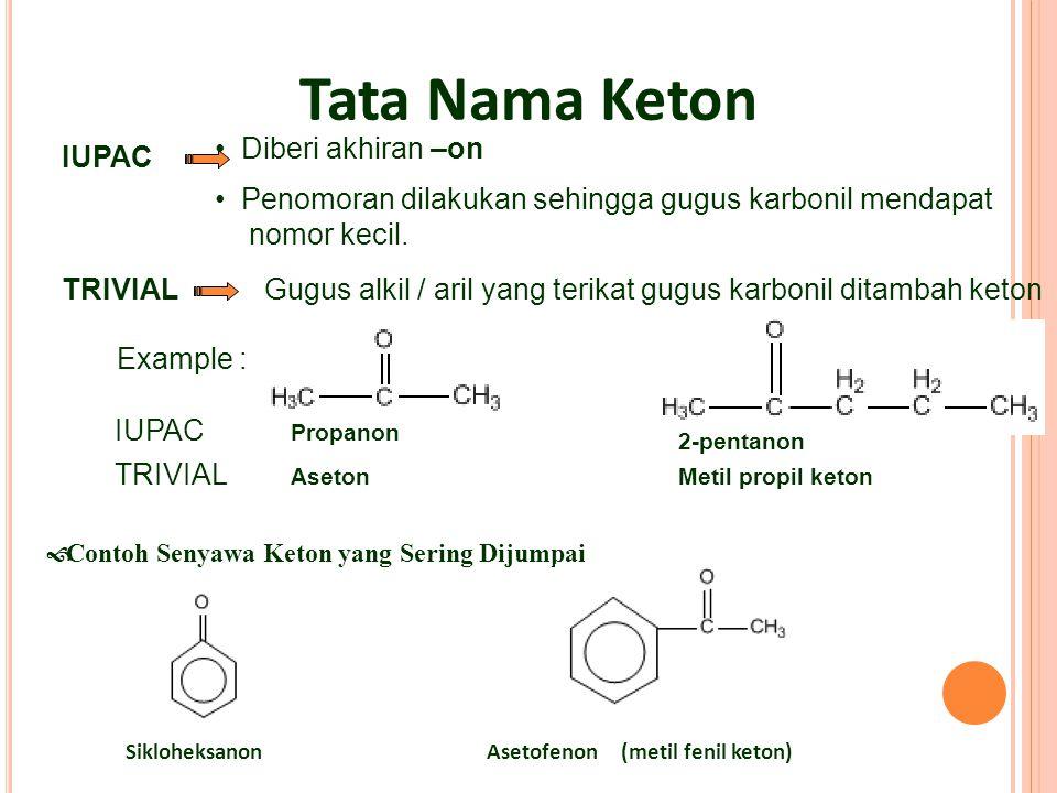 IUPAC Diberi akhiran –on Penomoran dilakukan sehingga gugus karbonil mendapat nomor kecil. TRIVIALGugus alkil / aril yang terikat gugus karbonil ditam