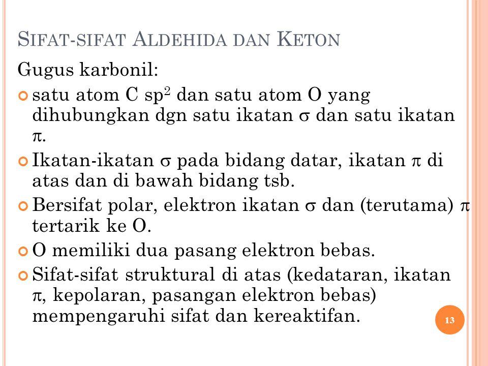 S IFAT - SIFAT A LDEHIDA DAN K ETON Gugus karbonil: satu atom C sp 2 dan satu atom O yang dihubungkan dgn satu ikatan  dan satu ikatan . Ikatan-ikat