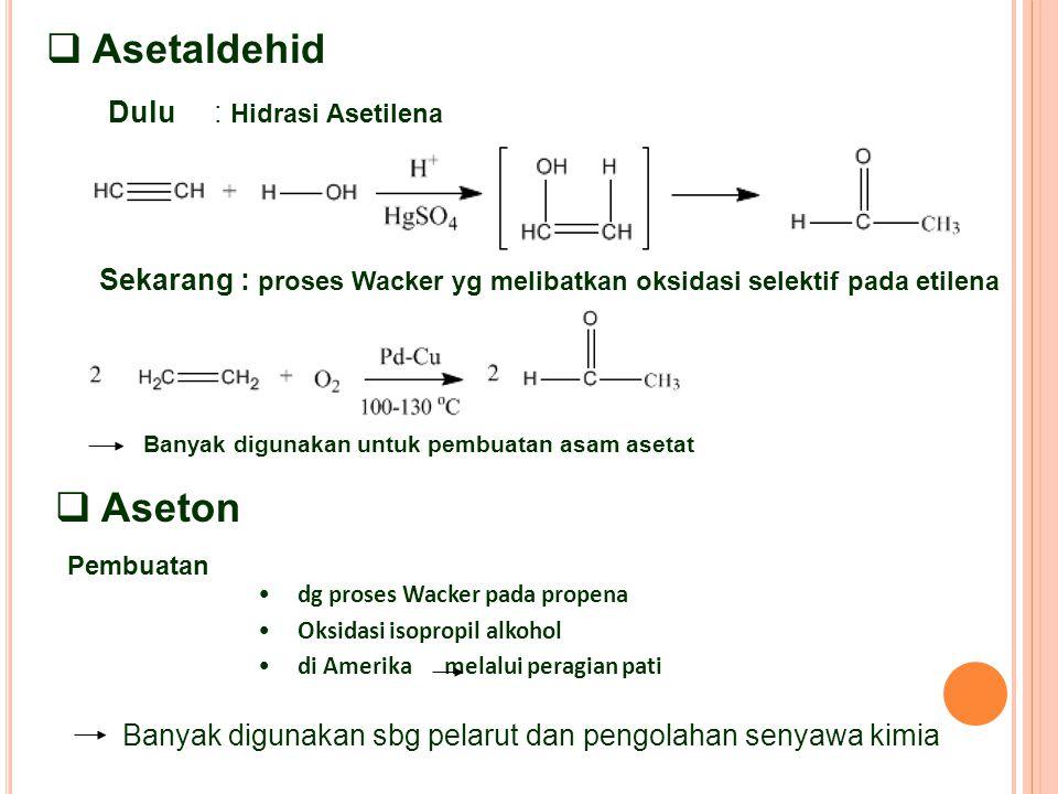  Asetaldehid Dulu : Hidrasi Asetilena Sekarang : proses Wacker yg melibatkan oksidasi selektif pada etilena Banyak digunakan untuk pembuatan asam asetat dg proses Wacker pada propena Oksidasi isopropil alkohol di Amerika melalui peragian pati  Aseton Pembuatan Banyak digunakan sbg pelarut dan pengolahan senyawa kimia