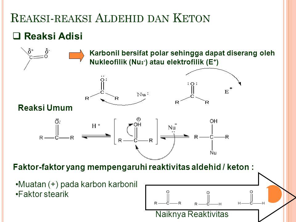 R EAKSI - REAKSI A LDEHID DAN K ETON Karbonil bersifat polar sehingga dapat diserang oleh Nukleofilik (Nu : - ) atau elektrofilik (E + ) Reaksi Umum F