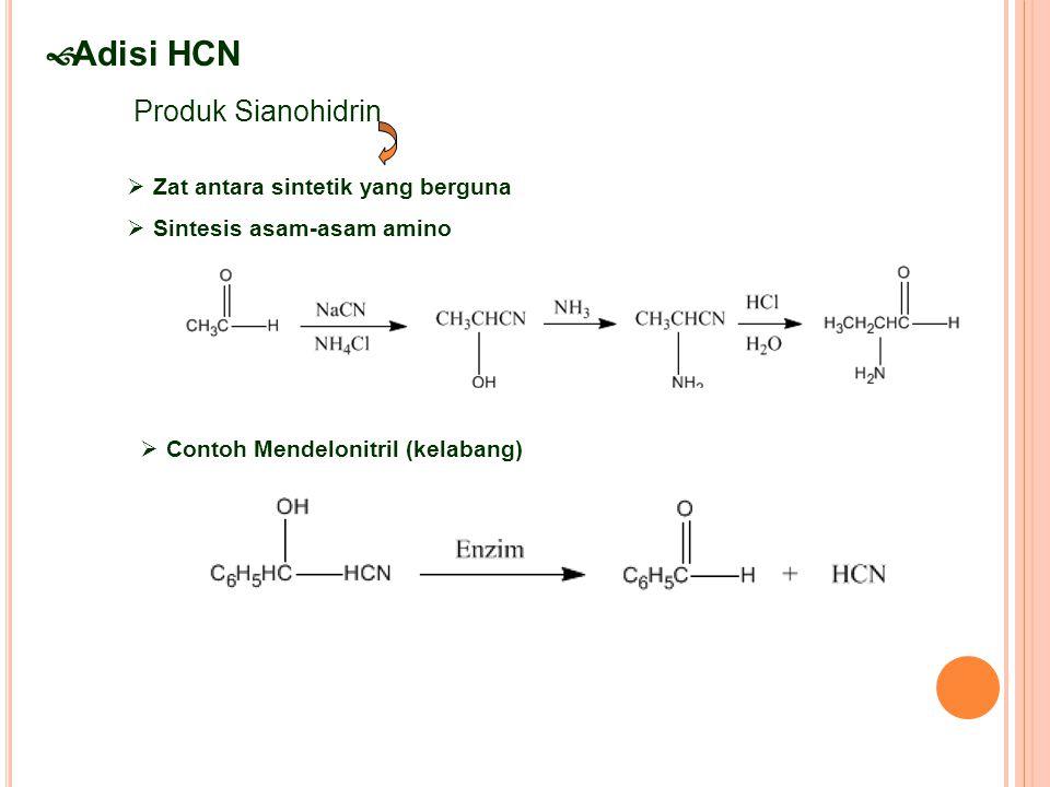  Adisi HCN Produk Sianohidrin  Zat antara sintetik yang berguna  Sintesis asam-asam amino  Contoh Mendelonitril (kelabang)