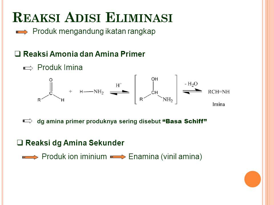 "R EAKSI A DISI E LIMINASI Produk mengandung ikatan rangkap  Reaksi Amonia dan Amina Primer Produk Imina dg amina primer produknya sering disebut ""Bas"