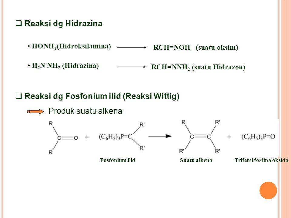  Reaksi dg Fosfonium ilid (Reaksi Wittig) Produk suatu alkena Fosfonium ilidSuatu alkenaTrifenil fosfina oksida  Reaksi dg Hidrazina HONH 2 (Hidroksilamina) RCH=NOH (suatu oksim) H 2 N NH 2 (Hidrazina) RCH=NNH 2 (suatu Hidrazon)