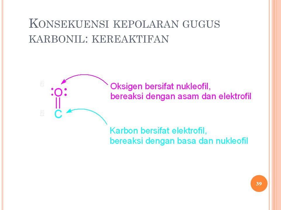 K ONSEKUENSI KEPOLARAN GUGUS KARBONIL : KEREAKTIFAN 39