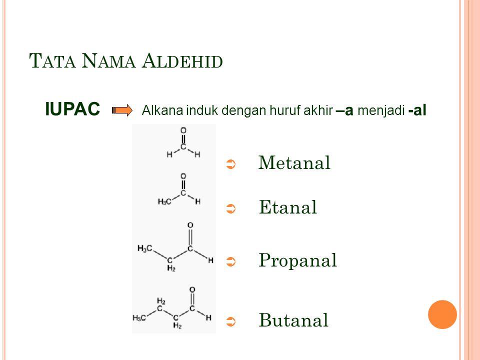 T ATA N AMA A LDEHID  Metanal  Etanal  Propanal  Butanal IUPAC Alkana induk dengan huruf akhir –a menjadi -al